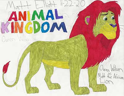 """a drawing of lion; the words """"Animal Kingdom"""" in bright colored letters"""