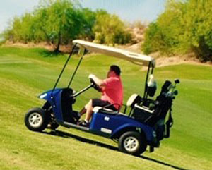 Young man in a red t-shirt drives a canopied blue golf cart across the green hills.