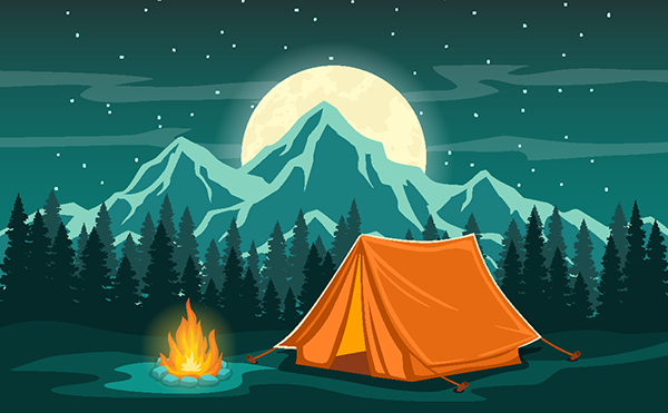 a tent and campfire; mountains and pine trees in the background