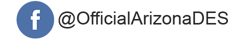 "a facebook icon followed by text ""@OfficialArizonaDES"""