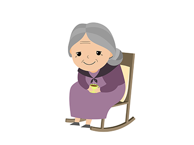 an elderly woman sitting in a rocking chair