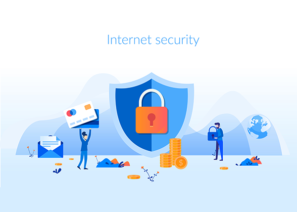 "a shield with a lock, a woman carrying giant credit cards, a man carrying a lock; the words ""Internet Security"""