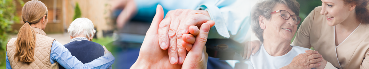a woman's arm around an older woman's back; young hands holding an older hand; woman holding older woman's hand in support