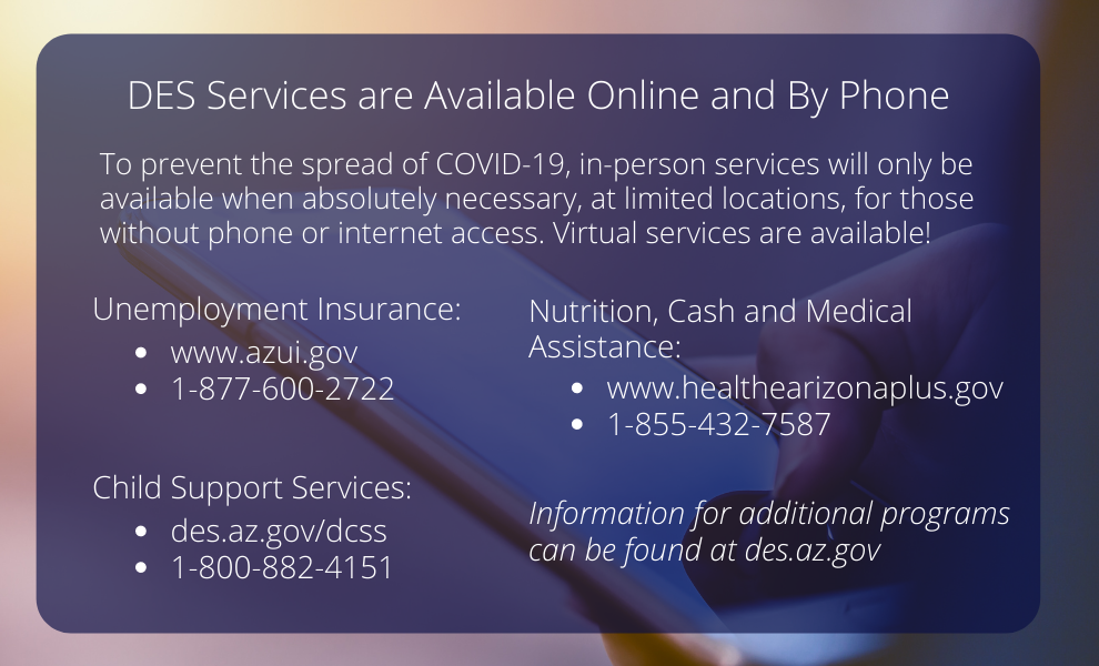 DES Services are Available Online and By Phone