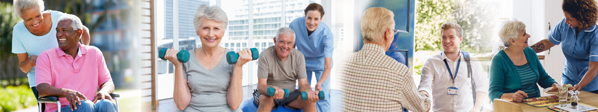 a young man pushes an older man in wheelchair, older man and woman lifting weights, nurse visiting older man at home