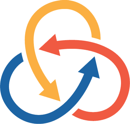 logo composed of three different colored, circular arrows