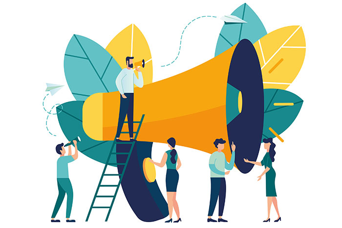 Illustration of five adults standing around and on a giant megaphone with a ladder propped up against it. Giant leaves are in the backdrop.