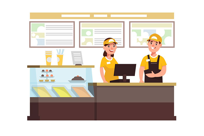 Illustration of two employees wearing yellow shirts and hats stand smiling behind a restaurant counter. One is giving a thumbs-up.