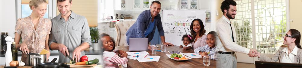 una mujer y un hombre preparan una comida; una familia sentada en su mesa de comedor; un hombre y una mujer en vestimenta profesional se dan la mano