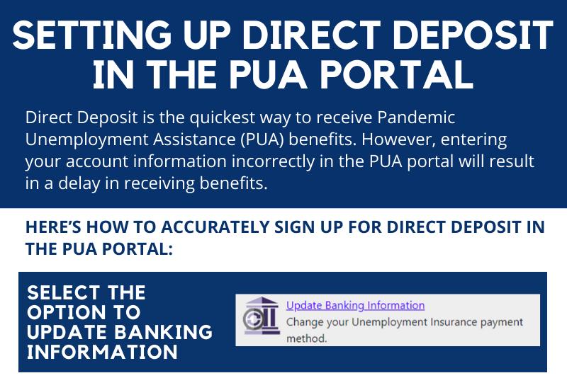 Setting up Direct Deposit in PUA Portal