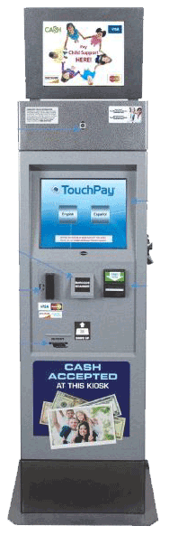 TouchPay self-serve child support payment kiosk.