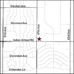 Mapa de la ubicación de la oficina del DES en el oeste de Phoenix