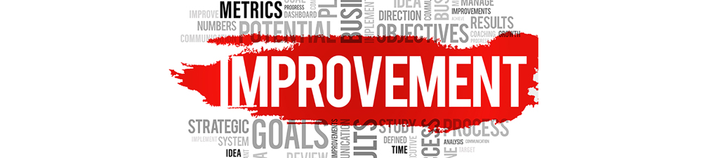 Collage of words supporting improvement
