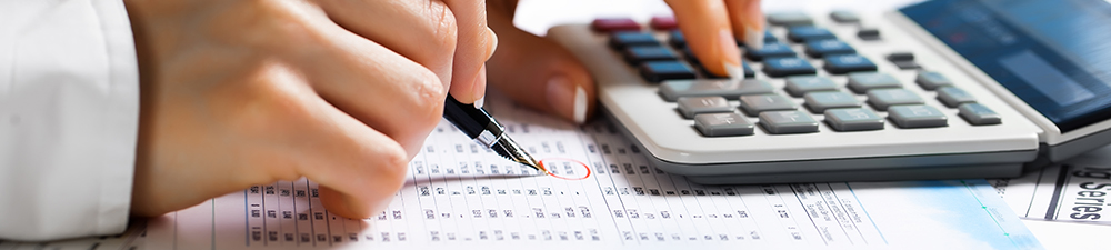 Close up of woman's hands holding a pen and using a calculator on a desk.