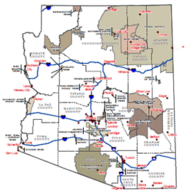 map of Arizona Tribal Lands and DBME Offices