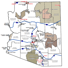map of Arizona Tribal Lands and DES On The Spot