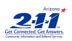 Logotipo para el sitio web Arizona211.com que proporciona información que reúne a personas y servicios todos los días para satisfacer las necesidades fundamentales en todo Arizona
