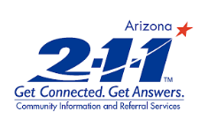 Logo for the website Arizona211.com that provides information that brings people and services together every day to meet vital needs throughout Arizona.