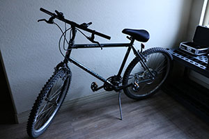 A black bicycle