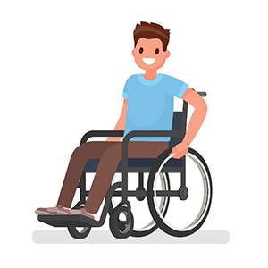 a young man sitting in a wheelchair