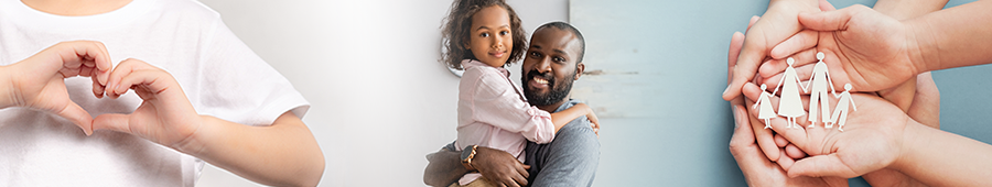 un niño pequeño haciendo forma de corazón con sus manos; un padre con una hija pequeña; manos de adultos y niños sosteniendo una familia de papel recortado