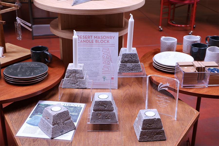 display of masonry candle blocks with taper candles and tea lights at the Frank Lloyd Wright gift shop in Scottsdale.