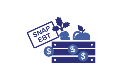 SNAP EBT card and produce crate