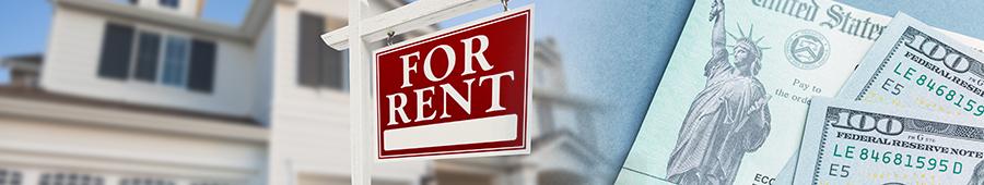 """hogar con un letrero que dice """"se renta""""; cheque de la tesorería de los Estados Unidos; billetes de $100 dólares"""
