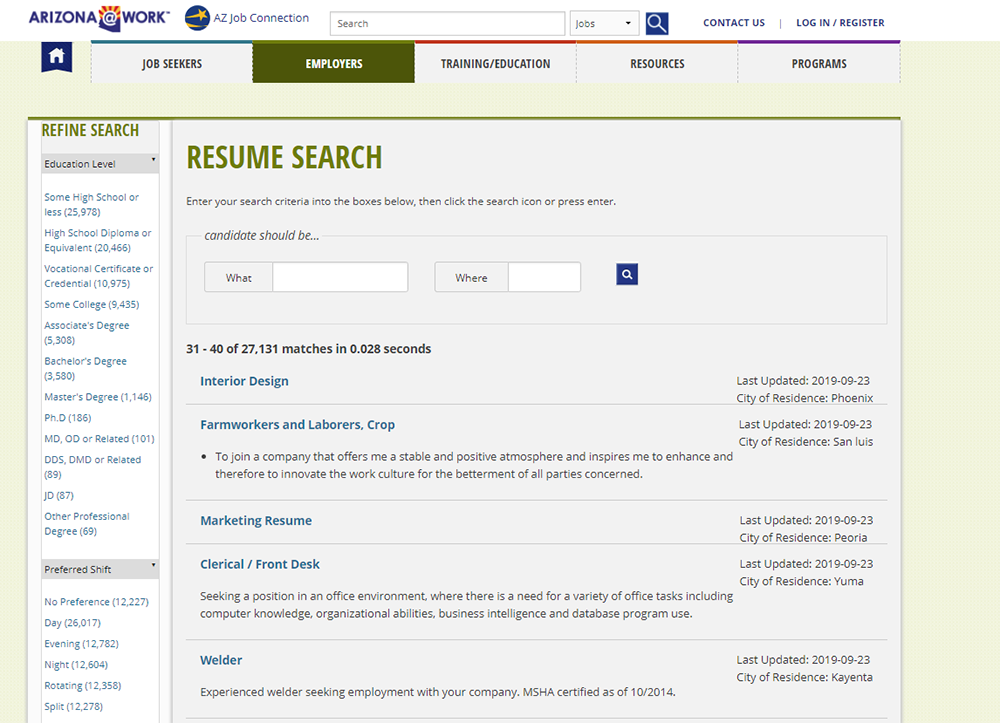screenshot of Resume Search page on Arizona Job Connection website
