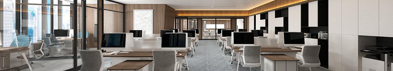 rows of empty desks inside an office