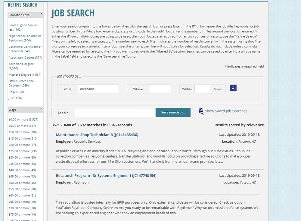 screenshot of Job Search page on Arizona Job Connection