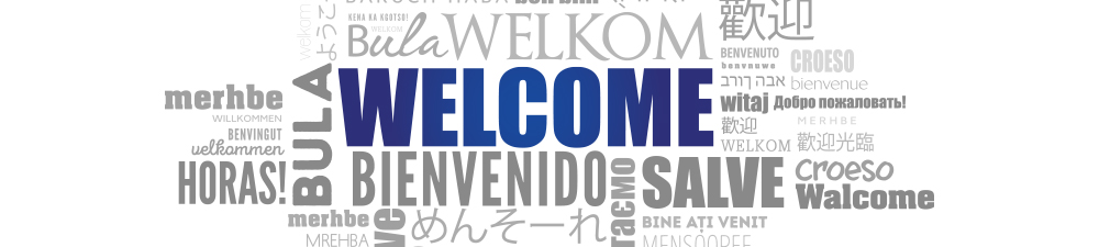 The word welcome displayed in many different languages