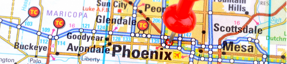 Map with a pin marking the location of Phoenix.