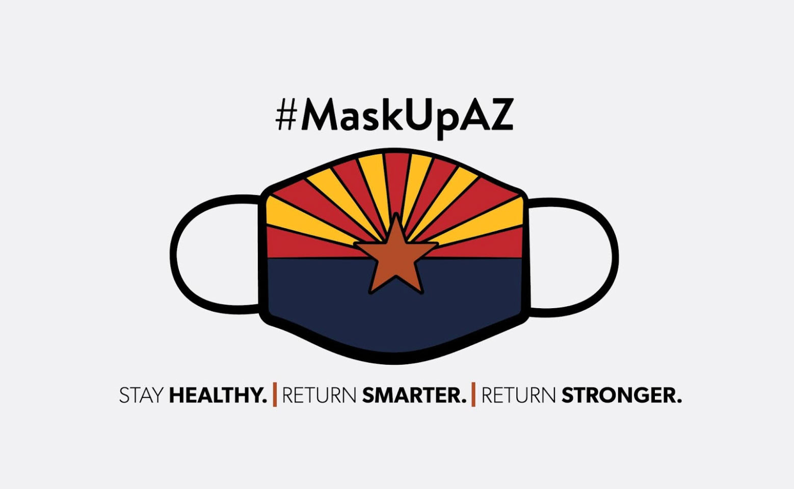 Mask Up Arizona Infographic with Face Cover Featuring the Arizona Flag
