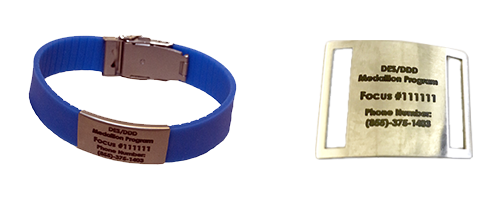Examples of medallion program options, wrist bracelet and shoe tag.