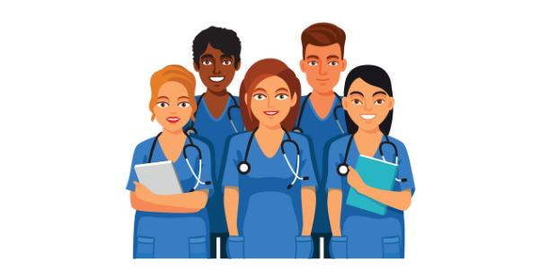 An illustration of two men and three women in scrubs standing with stethoscopes around their necks.
