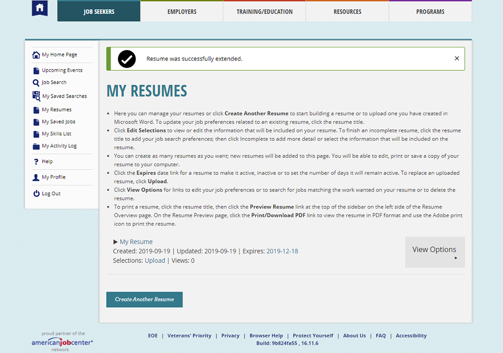 screenshot of My Resumes page on Arizona Job Connection website