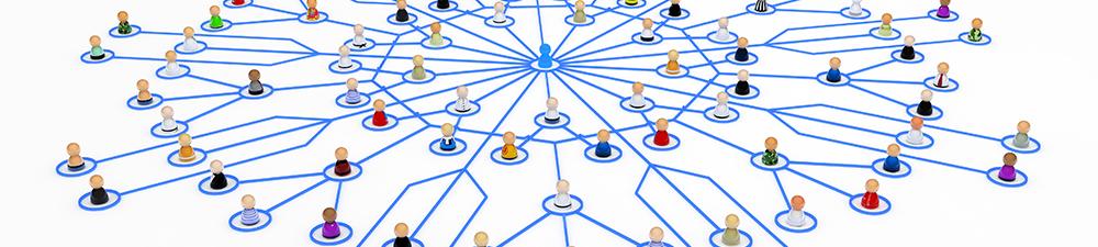 Muchas personas conectadas a una persona central por medio de líneas