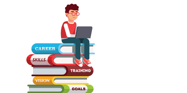 """An illustration of a boy sitting with a laptop on top of an oversized stack of books. The spines of the books read, """"Career,"""" """"Skills,"""" """"Training,"""" """"Vision,"""" and """"Goals."""""""