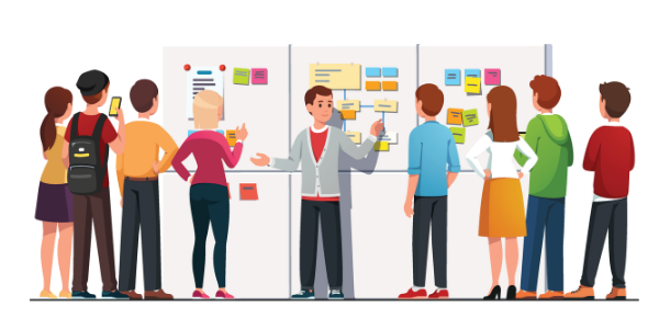 Illustration of students standing in front of a large board with various sticky notes connected by lines.