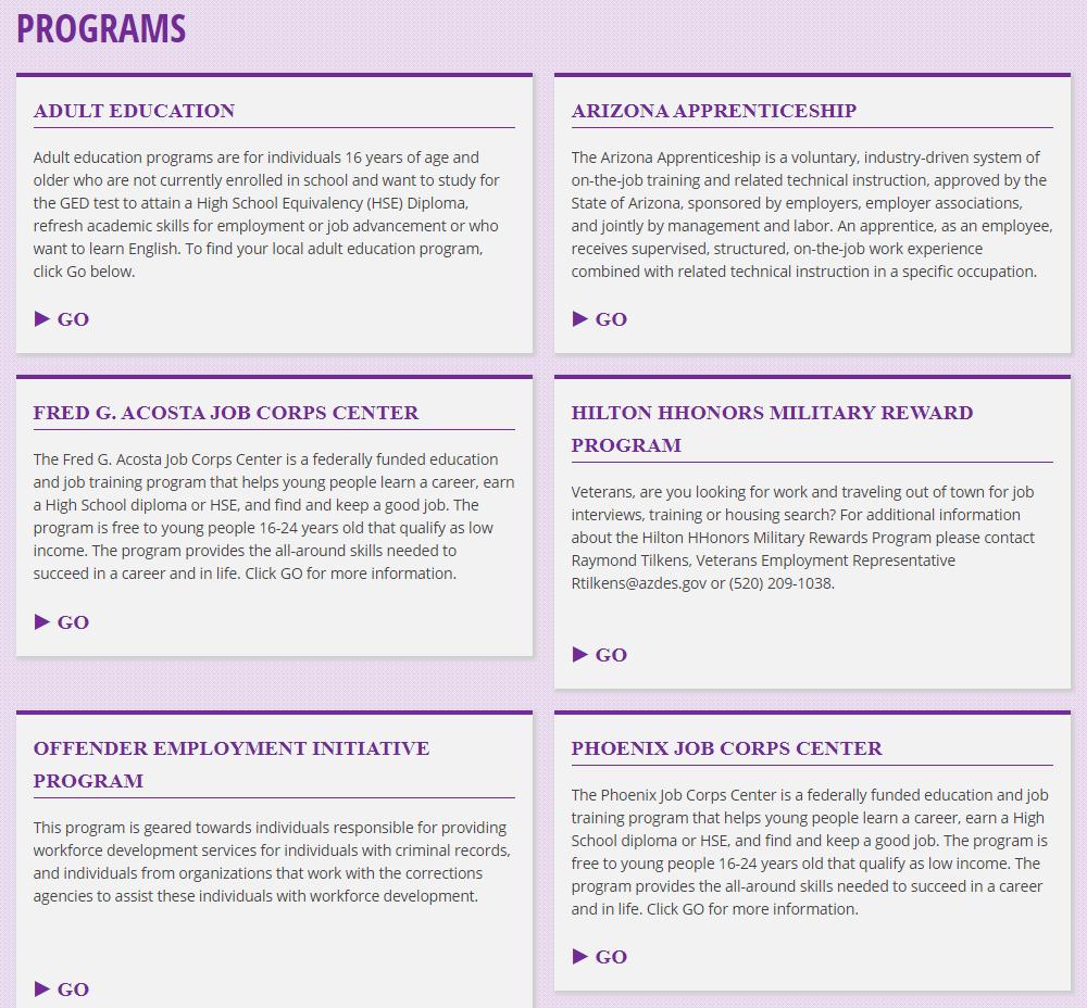 screenshot of Programs page