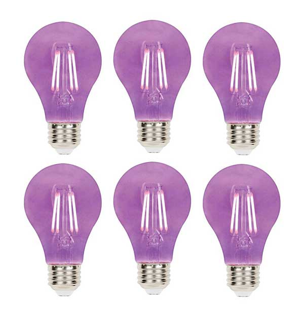 six purple light bulbs organized into two rows