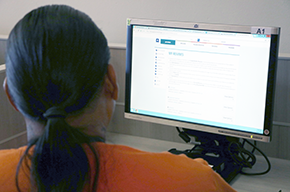 Reentry man applying for job online