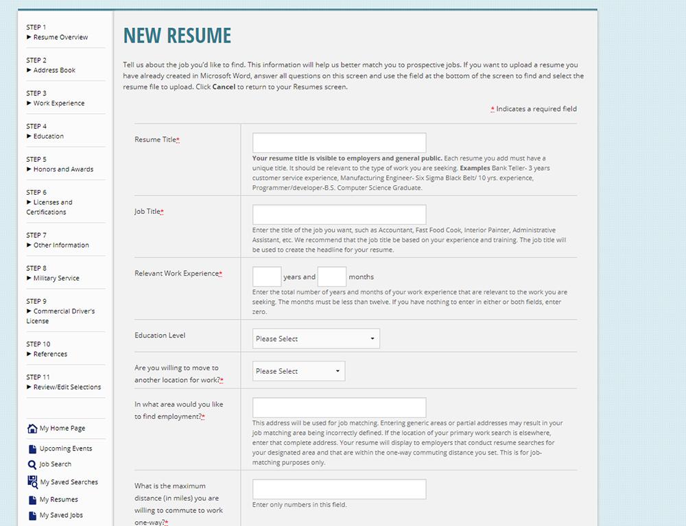 screenshot of New Resume page on Arizona Job Connection website