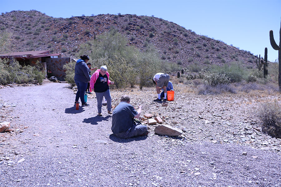 Woman in a pink jacket is one of six adults collecting rocks in the desert at Taliesin West in Scottsdale.
