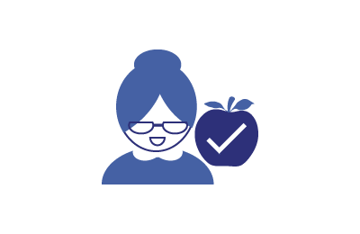 an apple with a checkmark inside next to an older woman