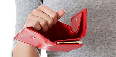hands opening an empty wallet