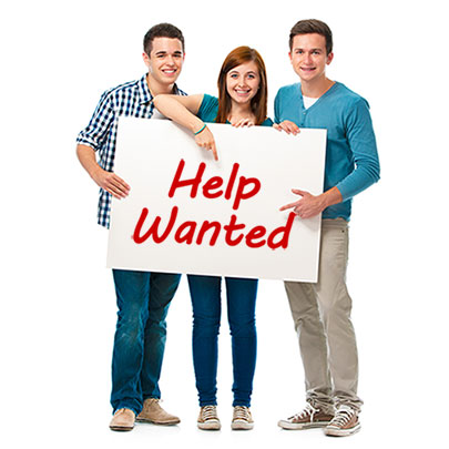 teens hold sign that says Help Wanted