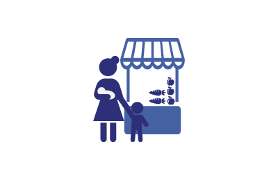 silhouettes of woman with children at produce stand