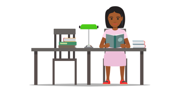 An illustration of a girl sitting at a table reading a book, with several other books stacked on top of the table.